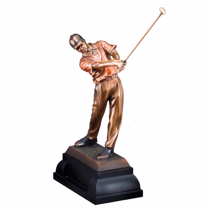 14 Inch Electroplated in Bronze Male Golfer Trophy