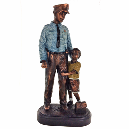 12 Inch Bronze Electroplated and Painted Male Police Officer and Little Boy Figures Trophy