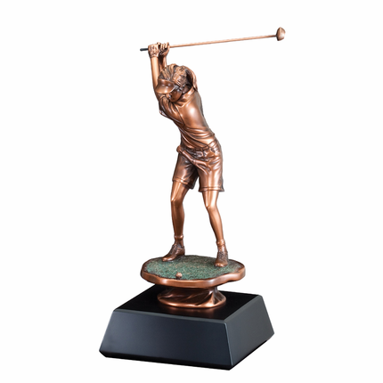 16 Inch Electroplated in Bronze Female Golfer Back Swing Trophy