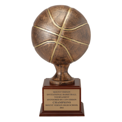 16 Inch Painted Resin Basketball Sculpture Trophy with Gold Plate