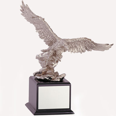 18-1/2 Inch Silver Electroplated Eagle on Rock Trophy