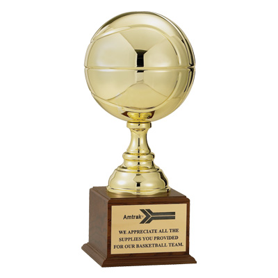 19-1/2 Inch Bright Gold Polished Finish Basketball Sculpture Trophy