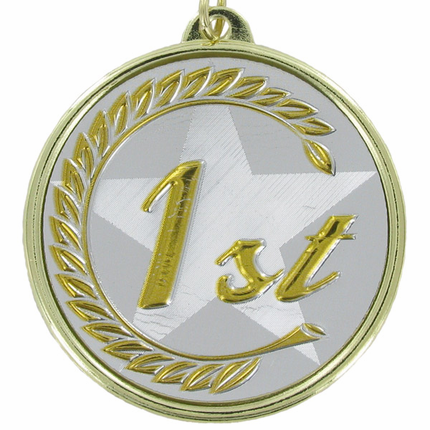 "2-1/4 Inch Medal Frame with 2 Inch ""1st"" Embosed Mylar Insert Label"