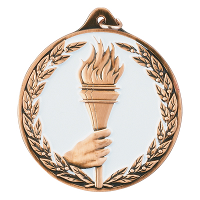 2-1/2 Inch Bronze High Relief Enameled and Wreath Border with Torch in Hand Medal