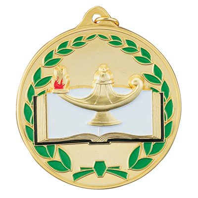 2-1/2 Inch High Relief Enameled with Wreath Border Lamp of Learning and Book Medal