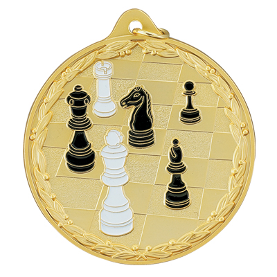 2-1/2 Inch High Relief Enameled Chessboard and Pieces Medal