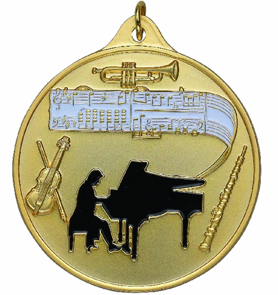 2-1/2 Inch High Relief Enameled Orchestra with Trumpet, Piano, Violin, and Music Notes Medal