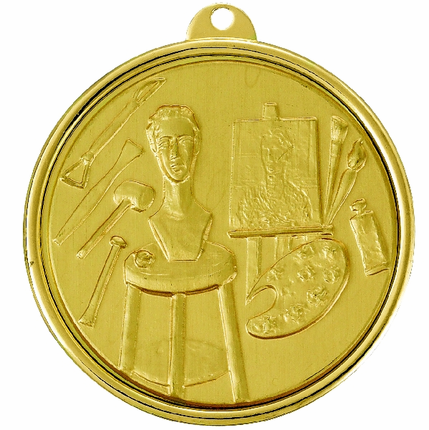 2-1/4 Inch Medal Frame with 2 Inch Painting, Sculptres, and Art Tools Medallion Insert Disc