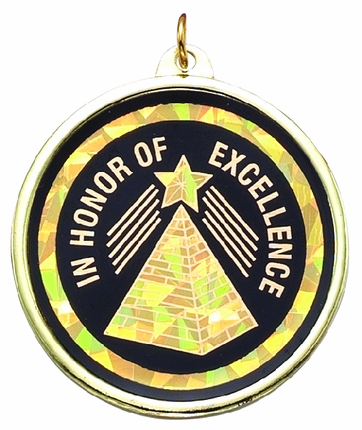"""2-1/4 Inch Medal Frame with 2 Inch """"In Honor of Excellence"""" with Pyramid Mylar Insert Label"""