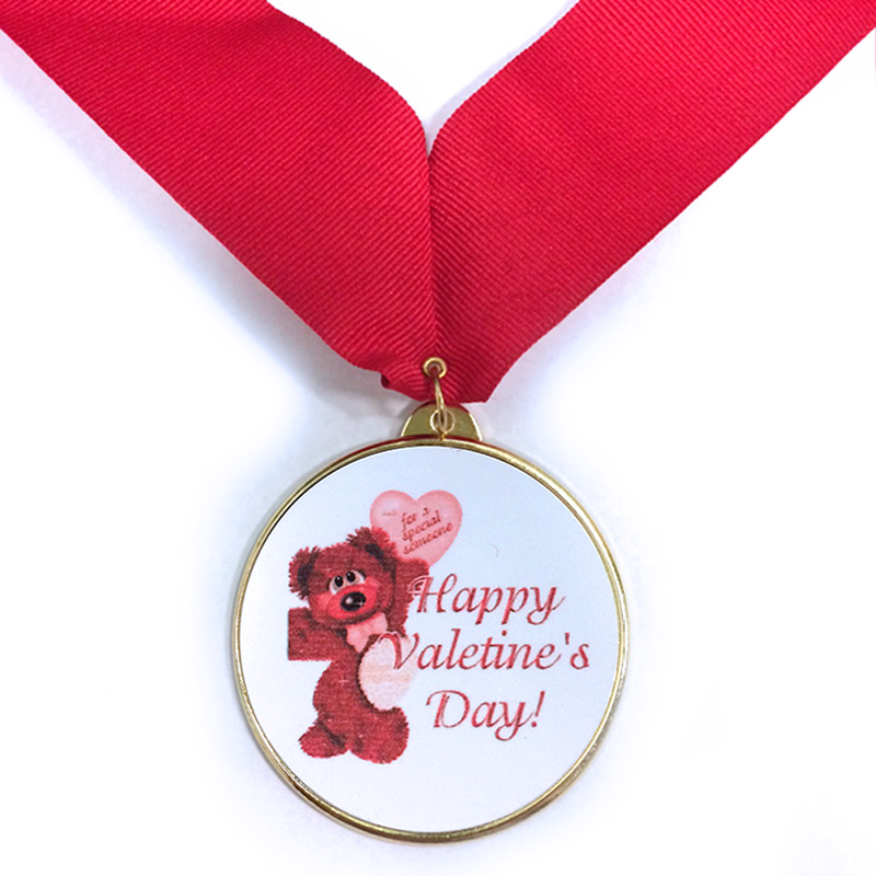 2-1/4 Inch Medal Frame with 2 Inch Valentine Bear Insert and Red Ribbon
