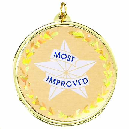 "2-1/4 Inch Medal Frame with 2 Inch ""Most Improved"" Star Mylar Insert Label"