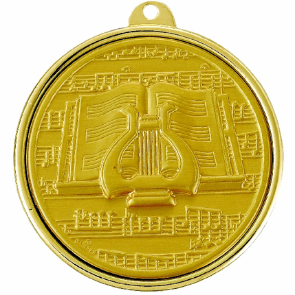 2-1/4 Inch Medal Frame with 2 Inch Music Lyre Medallion Insert Disc