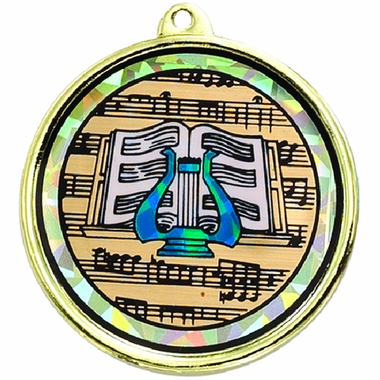 2-1/4 Inch Medal Frame with 2 Inch Music Lyre Mylar Insert Label