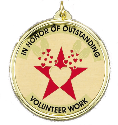 "2-1/4 Inch Medal Frame with 2 Inch ""In Honor of Oustanding Volunteer"" with Star  Mylar Insert Label"