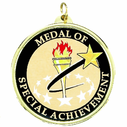 "2-1/4 Inch Medal Frame with 2 Inch ""Mead of Special Achievement"" with Torch Mylar Insert Label"