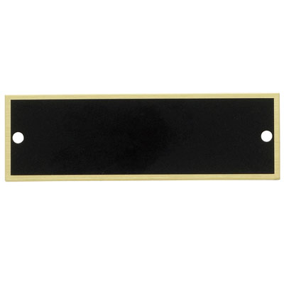 2-3/4 x 7/8 Inch Black Plate with Gold Trim Border