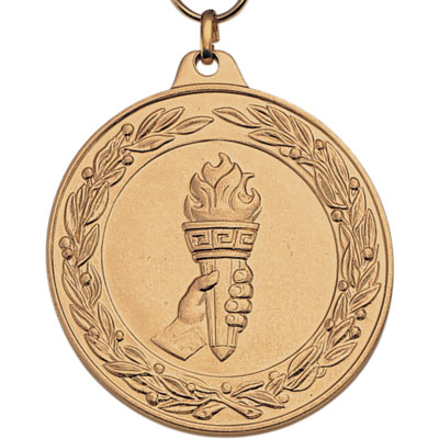 2 Inch Scalloped and Wreath Border Achievement Torch in Hand Medal