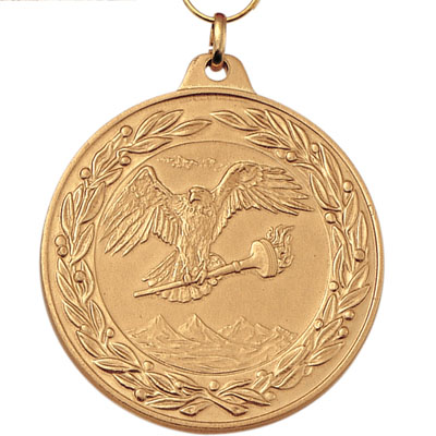 2 Inch Scalloped and Wreath Border Flying Eagle with Torch Medal