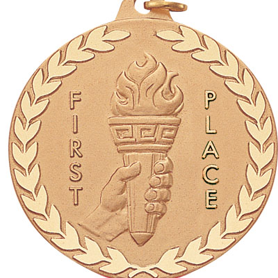 "2 Inch Diamond Cut and Wreath Border ""First Place"" Torch In Hand Medal"