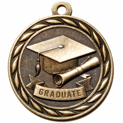 2 Inch Graduate Medal in Antique Brass Only