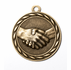 2 Inch Handshake Medal in Antique Brass Only