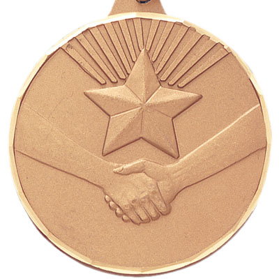2 Inch Diamond Cut Border Handshake with Star Medal