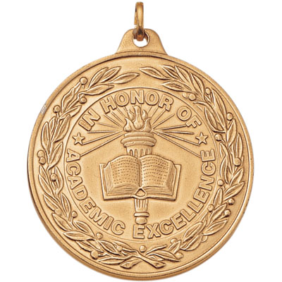 "2 Inch Scalloped and Wreath Border ""In Honor of Academic Excellence"" Medal"