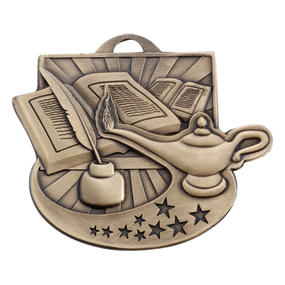 2 Inch Antiqued Die-Casted Lamp of Learning Medal