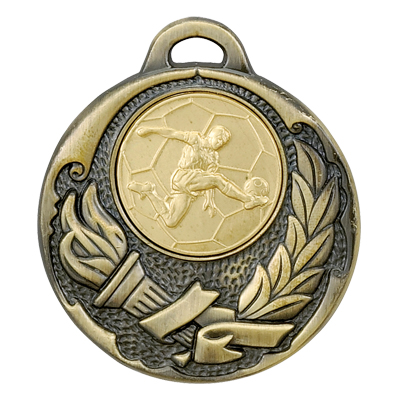 2 Inch Torch and Wreath Medal Frame with 1 Male Soccer Player Medallion Insert Disc