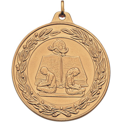 2 Inch Scalloped and Wreath Border Reading with Boy and Girl Medal