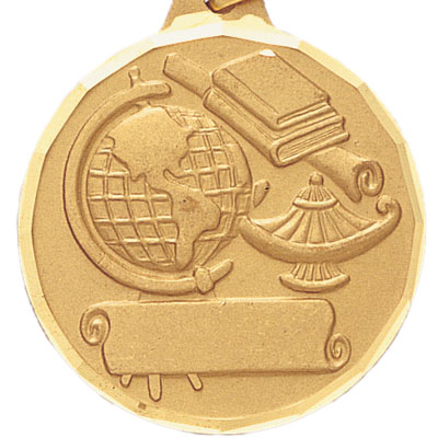 2 Inch Diamond Cut Border Scholastic Achievment with Lamp of Learning and Scroll Medal