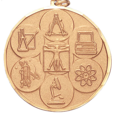 2 Inch Diamond Cut Border Multiple Science Disciplines Medal