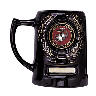 28 Ounce Black Ceramic Beer Mug with Plate-Takes 2 Inch Insert