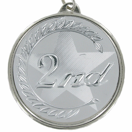 "2-1/4 Inch Medal Frame with 2 Inch ""2nd"" Embossed Mylar Insert Label"