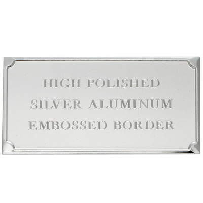 3-1/8 x 1-9/16 Inch Silver Embossed Aluminum Plate