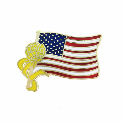 3/4 Inch American Flag with Yellow Ribbon Lapel Pin