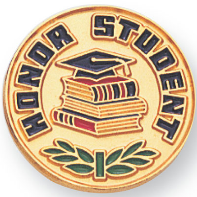 3/4 Inch Honor Student with Graduation Cap and Books Pin