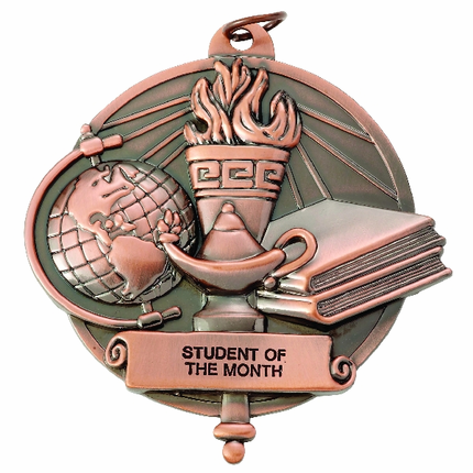 3 Inch Bronze High Relief Lamp of Learning with Torch Medal