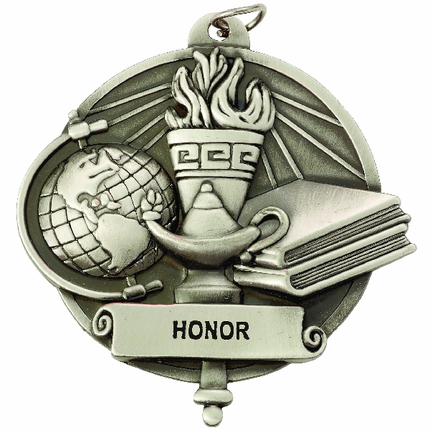 3 Inch Silver High Relief Lamp of Learning with Torch Medal