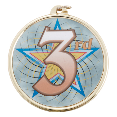"2-1/4 Inch Medal Frame with 2 Inch ""3rd"" Place with Star Mylar Insert Label"
