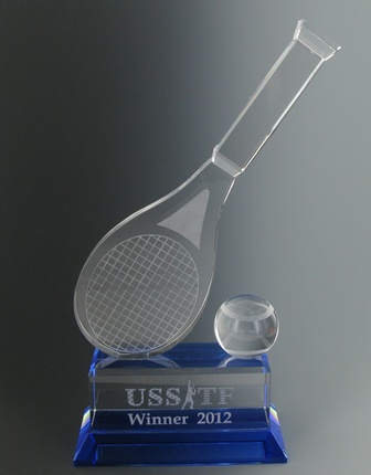 4-1/4 Inch Optical Crystal Tennis Raquet and Ball on Blue Base Award