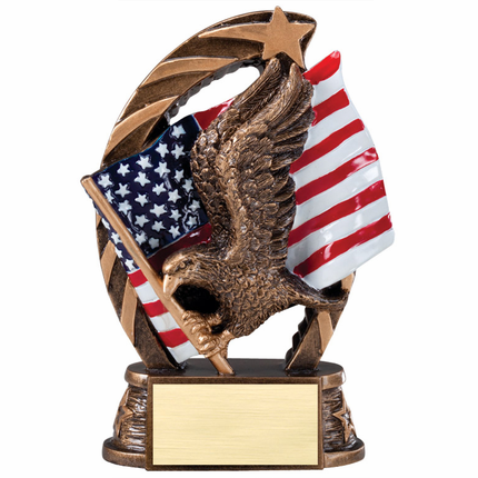 5-1/2 Inch Brass Resin Eagle Holding American Flag Trophy