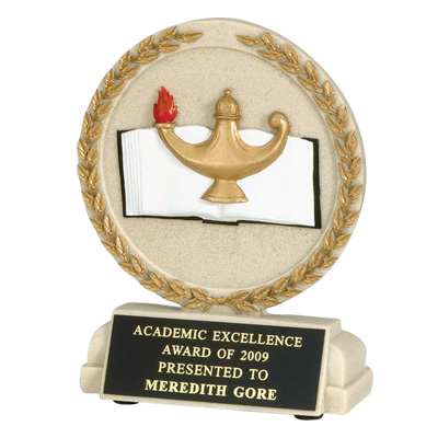 5-1/2 Inch Round Stone Resin Lamp of Learning Trophy