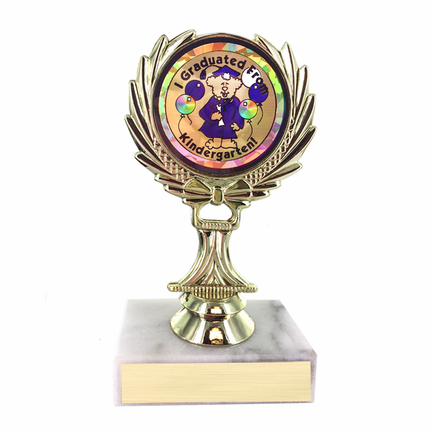 5-1/4 Inch I Graduated from Kindergarten Trophy on Marble Base