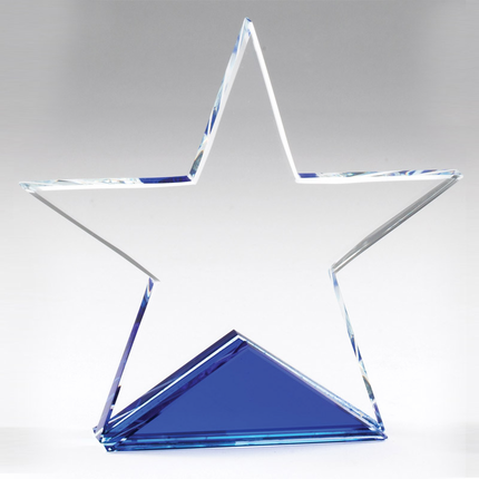 5-1/4 x 5-1/4 Inch Optical Cut Crystal Star on Blue Base