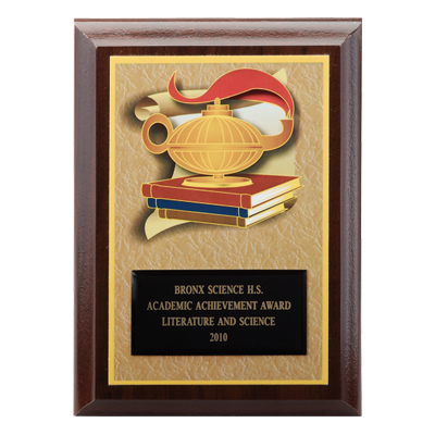 5 x 7 Walnut Lamp of Learning on Books Digital Photo Plaque