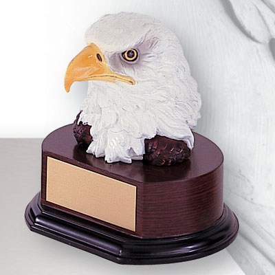 6-1/2 Inch Hand Painted Resin Eagle Head Trophy