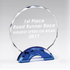 6-3/4 Inch Round Cut and Beveled Crystal Award on Blue Double Arch Base