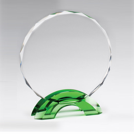 6-3/4 Inch Round Cut and Beveled Crystal Award on Green Double Arch Base
