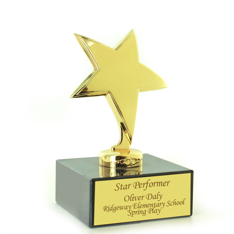 6 Inch Bright Die Cast Metal Polished Gold Star Trophy